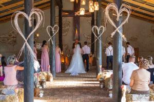 Wedding couple facing Pastor