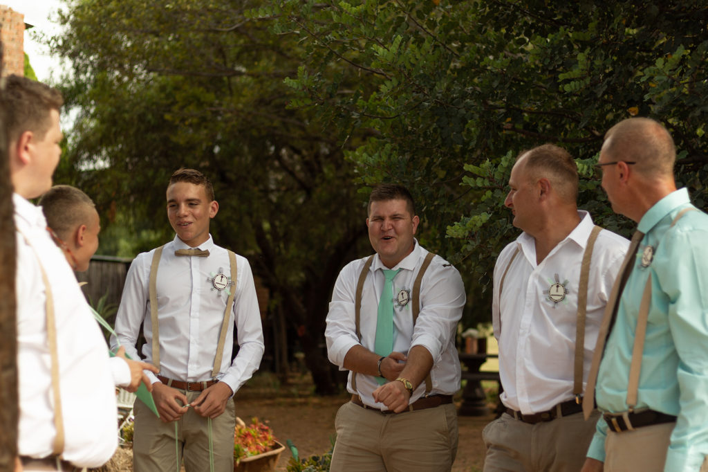 Groom waiting for bride with Groom's men