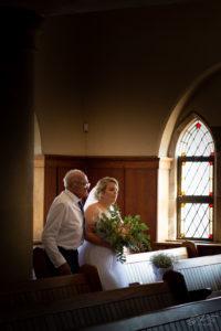 Bride and grandfather walking down the isle, Heidelberg Church